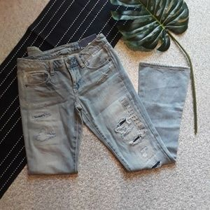 American Eagle| Skinny Kick Jeans Patchwork 2 New